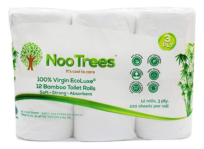 NooTrees Bamboo 3-Ply Bathroom Tissue, 220 Sheets, 12 Count