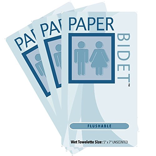 Paper Bidet (NEW!)- Flushable, Unscented Single Moist Toilet Wipes 60 Individual Packs Per Order **On Sale**