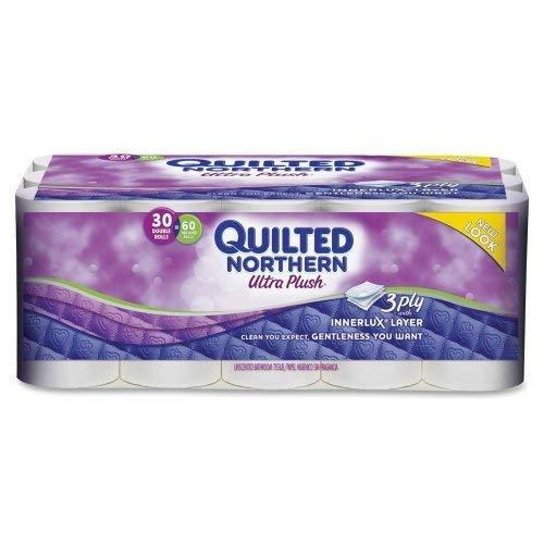 Quilted Northern Ultra Plush 3-Ply Bathroom Tissue, 176 Sheets/Roll, Case Of 30