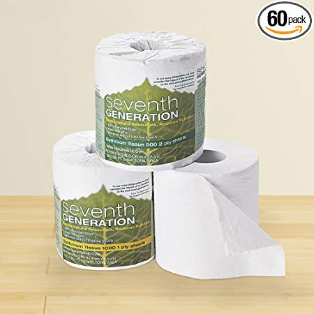 Seventh Generation 1 Ply 100 Percent Recycled Bathroom Tissue - 1000 sheets per roll -- 60 rolls per case.