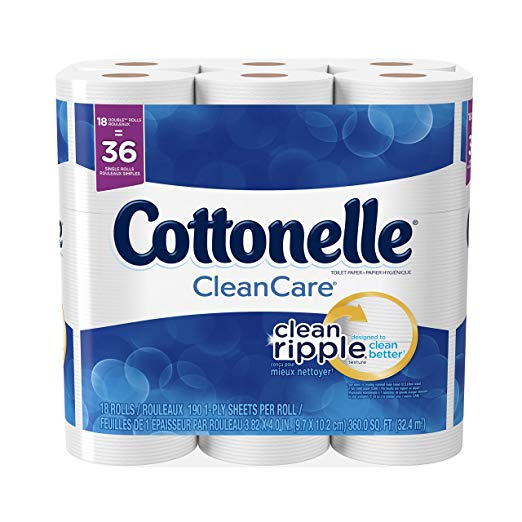 Cottonelle CleanCare Toilet Paper, 18 Double Rolls, Strong Bath Tissue